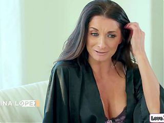 Busty Latina babe licks and fingers her busty stepmom's pussy