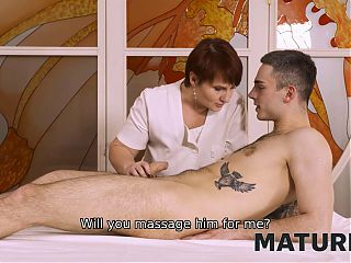 MATURE4K. Masseuse flashes her charms in front of client
