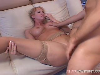 Horny MILF blonde lustfully uses a young dick