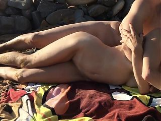 American slut gets fucked on a greek beach